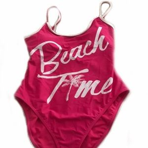 Neon pink beach time one piece suit